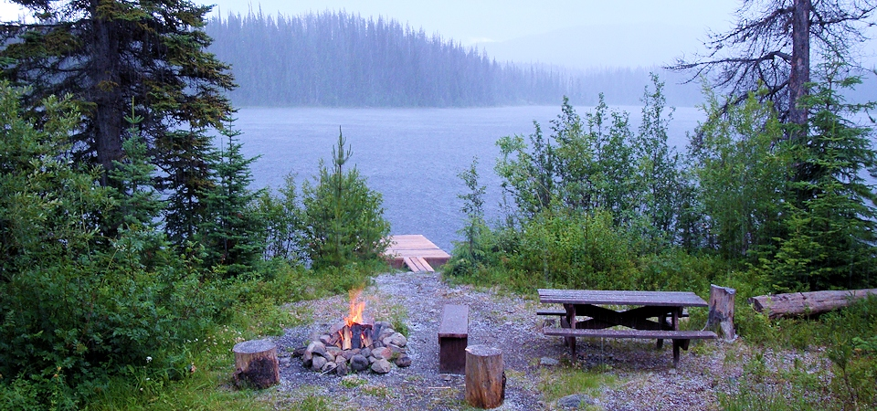 Campfire and dock at Thuya Lakes