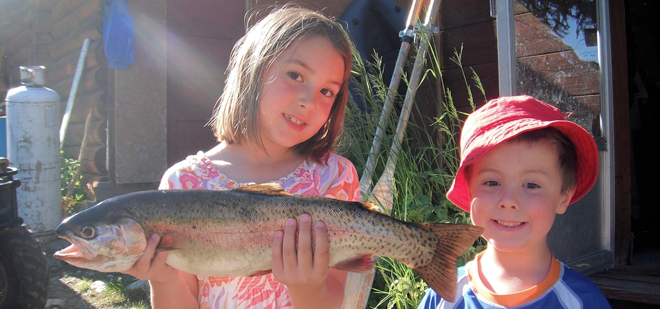Kids and Fish at Thuya Lakes